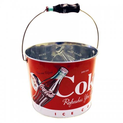 Balde para Gelo Coca-Cola Ice Cold (Original) em Aço Galvanizado 4,6L