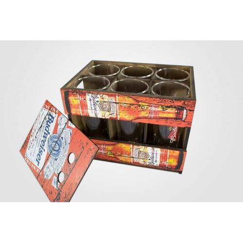 Conjunto 6 Copos Budweiser + Caixa Personalizada em MDF