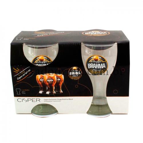 Conjunto 4 copos Chopp BRAHMA Black (400ml)